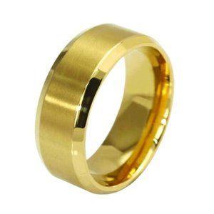 Gold Stainless Steel 8mm Ring For Men Women Unisex